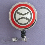 Red Baseball Badge Reel