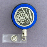 Blue Crochet Themed Craft Show Badge Reel