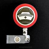 Red Vintage Nurse Cap Badge Reel