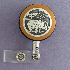 Rhino Badge Reel for Zoo Staff