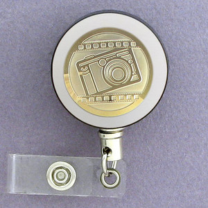 Gold Camera Name Badge Reel for Photographer