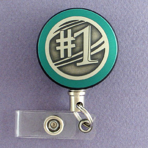 Green #1 Badge Reel for Sports Coaches