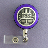 Purple Cake Badge Reel for Party Planner