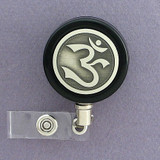 Black Om Symbol Badge Reel
