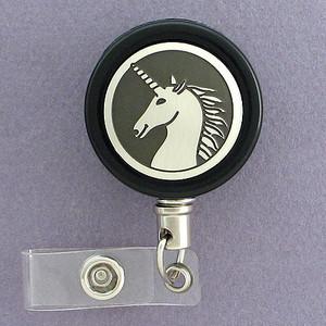 Black and Silver Unicorn Badge Reel