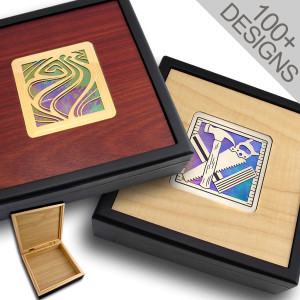 "Custom 7"" Wood Jewelry Box with Hinged Lid"