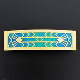 Gold Iridescent Art Deco Style Large Hair Barrette