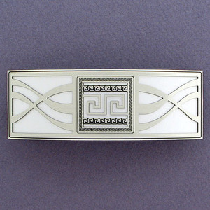 Greek Fret Silver Hair Barrettes