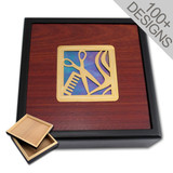 Lift-Off Lid Jewelry Box - Wood & Glass Inlay - Choose Design
