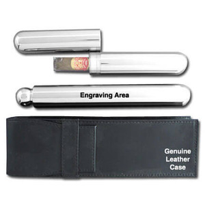 Leather & Stainless Steel Cigar Tube & Drinking Flask Set