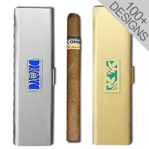 "Engraved 7"" Metal Cigar Cases"
