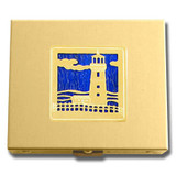 Gold Lighthouse Travel Pill Box