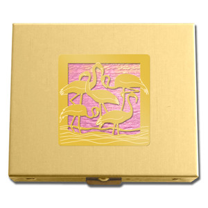 Gold & Pink Flamingo Pill Box