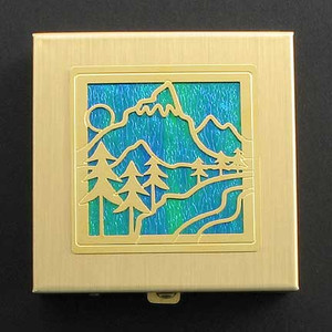 Scenic Mountain Pill Box - Gold and Blue