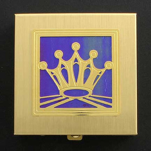 Gold Crown Pill Box with Purple