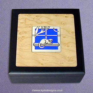 Cat Small Handcrafted Wood Box
