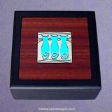 Triple Cats Small Decorative Wooden Box