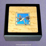 Hummingbird Small Glass Inlay Wooden Box