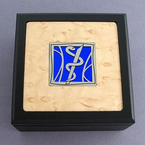 Medical Caduceus Small Decorative Wooden Box