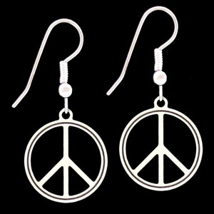 Peace Symbol Round Earrings