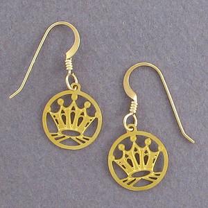 Princess Crown Round Earrings