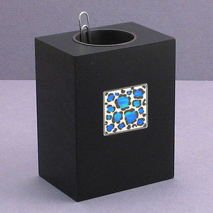Leopard Print Wood Paper Clip Containers
