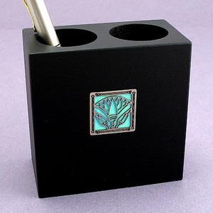 Egyptian Lotus Wooden Pen & Pencil Holder