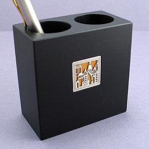 Cityscape Wood Pen & Pencil Holder