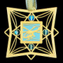 Helicopter Christmas Ornament - Aquamarine Aluminum with Gold Design
