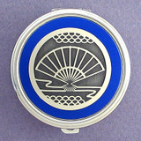 Oriental Folding Fan Pill Case - Round