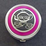Pink Teapot Pill Box - Round