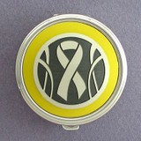 Yellow Ribbon Pill Case - Round