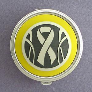 Yellow Ribbon Pill Case - Round