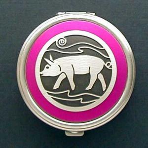 Pink Pig Pill Box - Round