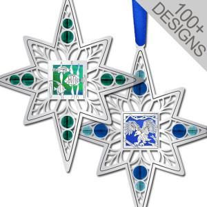 Fun Satin Silver Christmas Ornaments in Artistic Designs