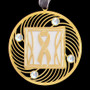 Gray ribbon ornament with silver aluminum and a gold design.