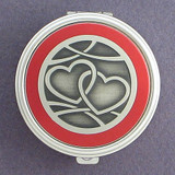 Interlocking Hearts Pill Case - Round