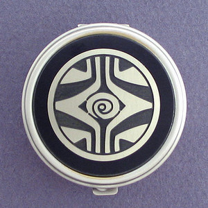 Retro Art Deco Pill Case - Round