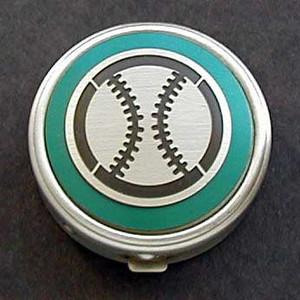 Round Baseball Pill Case