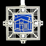 Blue & White Ornament with House Design
