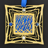 Cobalt and Chrome on Gold Rain Ornament