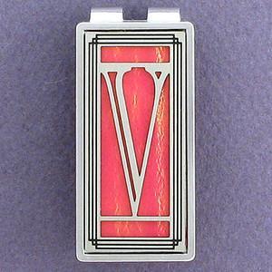 Monogram Letter V Money Clip