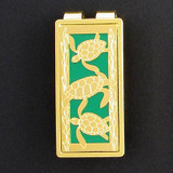 Sea Turtle Money Clip - Gold & Green