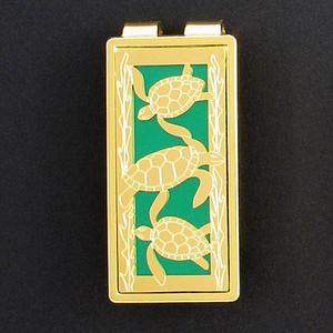 Sea Turtle Money Clip - Gold & Green