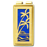 Palm Tree Money Clip - Gold, Blue