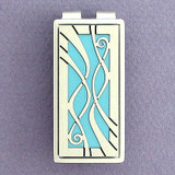 Blue Decorative Money Clip - Silver