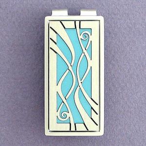 Blue Decorative Money Clip - Silver
