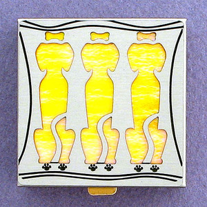 Yellow Dog Pill Box - Small Square