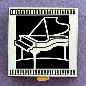 Black Piano Pill Box - Small, Silver Metal