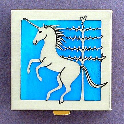 Bronzed Retro Art Pill Box With Mirror Medical Accessories,Travel Pill Box Design of Unicorn Pill Box Grid Design Box Portable Pill Case